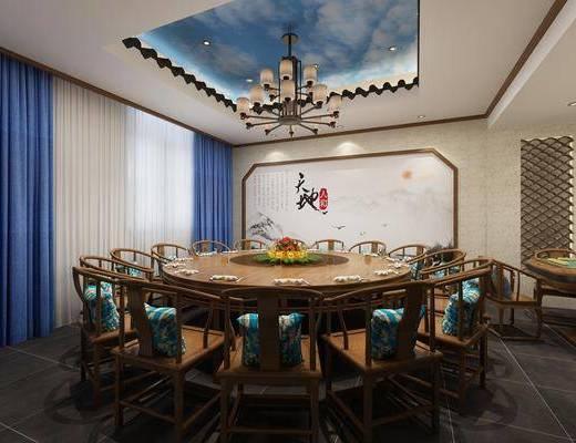 ?#39057;?#21253;厢, 餐桌, 餐椅, 单人椅, 吊灯, 餐具, 新中式