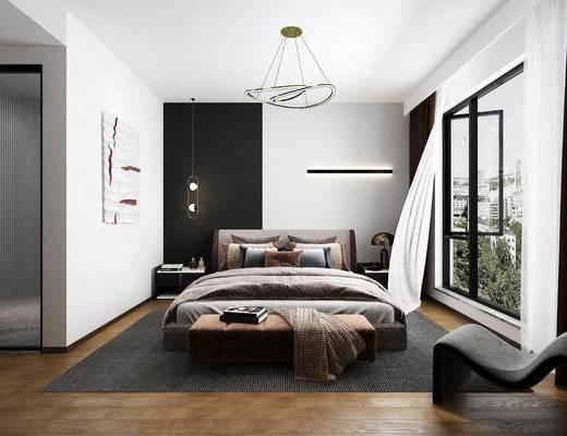 双人床, 吊灯, 装饰画, 窗帘, 单椅, 床尾踏