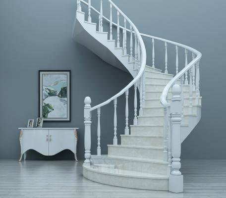 旋转楼梯, 扶手栏杆, 装饰柜, 边柜, 装饰画, 挂画, 欧式