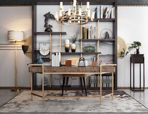 书桌椅, 桌椅, 椅子, 桌子, 吊灯, 书架