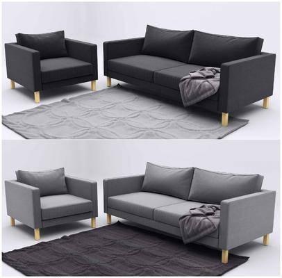 现代, 单人沙发, 双人沙发, 沙发组合, 地毯, 纯色沙发, 简约沙发, 现代简约