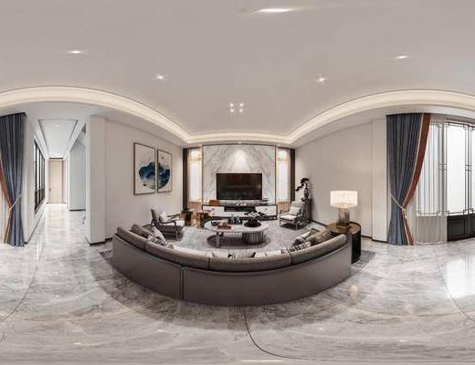 新中式, 客厅, 全景, 家装