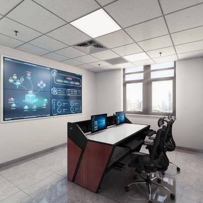 办公区, 书桌, 办公桌, 电脑桌, 控制室, 办公椅, 单人椅, 电脑, 现代