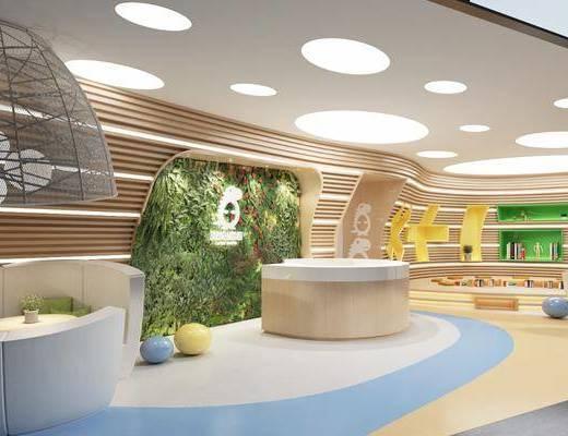 兒童教室, 幼兒園, 前臺接待, 植物墻, 吊燈組合, 活動室, 現代