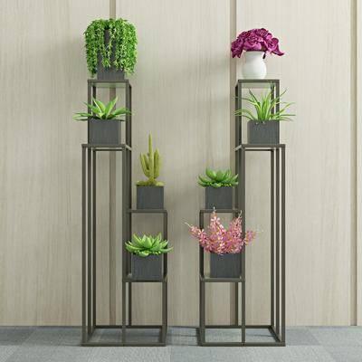 绿植盆栽, 装饰架, 花瓶花卉, 现代