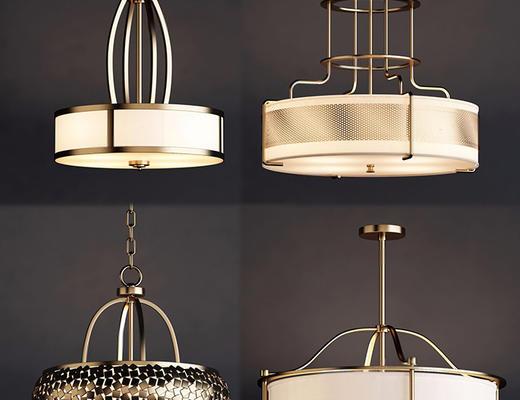 后现代, 吊灯, 灯具组合, 现代吊灯