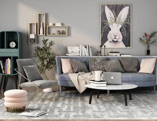 沙发, 茶几, 边柜, 置物架, 装饰画, 北欧沙发, 植物, 凳子