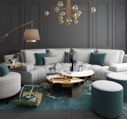 沙发组合, 茶几, 摆件组合, 弧形沙发, 钓鱼灯, 现代沙发组合