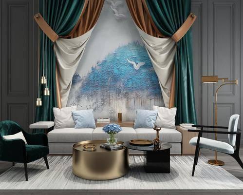 沙发组合, 沙发茶几组合, 中式沙发茶几组合, 新中式沙发茶几组合