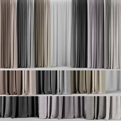 窗帘组合, 布艺窗帘, 现代