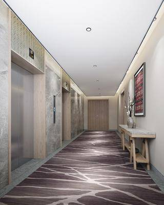 電梯間, 走廊過道, 案幾, 中式