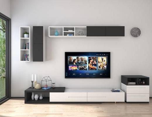 现代, 简约, 电视柜, 摆件, 组合, 陈设品