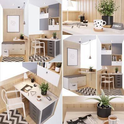 现代书桌椅, 书桌椅, 桌椅组合