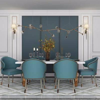 餐桌, 单椅, 椅子, 吊灯, 壁灯, 餐具, 花瓶, 花卉, 装饰品, 后现代