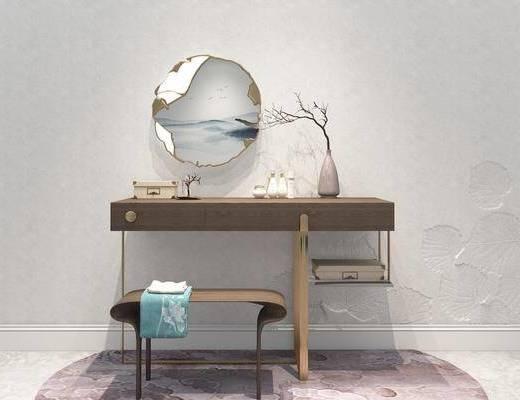 梳妆台, 新中式梳妆台, 摆件, 装饰品, 新中式