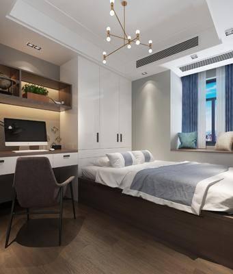 现代卧室, 榻榻米卧室, 现代书架, 现代桌子, 现代椅子, 电脑, 衣柜, 床具, 现代床具