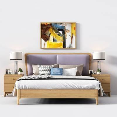 北欧实木双人床, 北欧, 双人床, 床, 床头柜, 装饰画, 台灯