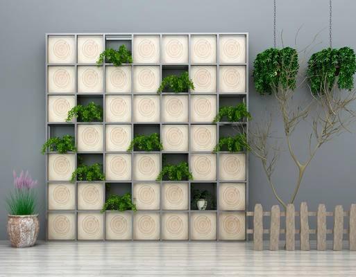 现代, 园艺, 园艺小品, 盆栽, 吊篮, 围栏