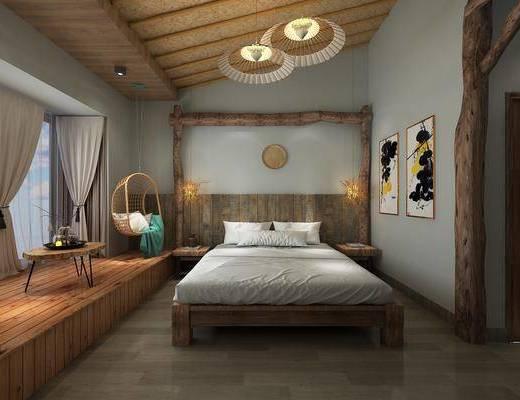 客房包房, 酒店客房, 床具组合, 挂画组合, 装饰架组合, 吊灯组合, 新中式