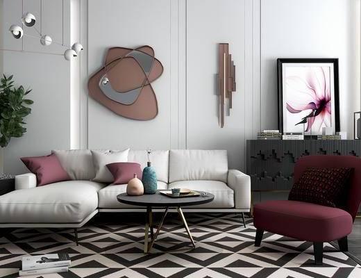 沙发组合, 沙发茶几组合, 装饰画, 单人沙发, 墙饰, 吊灯, 现代