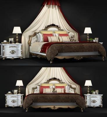 美式, 欧式, 床头柜, 床, 台灯