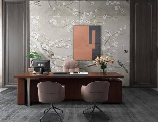办公桌, 桌椅组合, 摆件组合, 背景墙