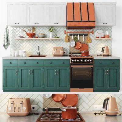 厨房, 橱柜, 厨具, 餐具, 瓷砖, 厨房用品, 炉灶, 消毒柜, 现代, 北欧