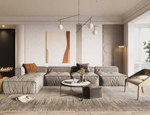 现代, 简约, 客厅, 家装