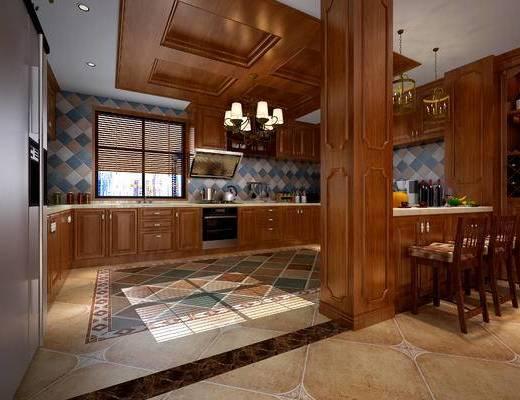 美式, 简美, 橱柜, 吊灯, 吧台, 吧椅, 餐具, 储物柜