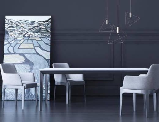 餐桌, 餐椅, 单人椅, 吊灯, 装饰画, 挂画, 现代