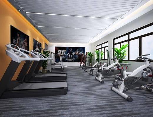 跑步机, 健身器材, 运动器械, 装饰画