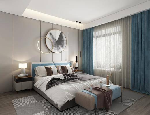 双人床, 床尾踏, 墙饰, 吊灯, 床头柜, 窗帘