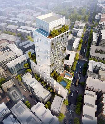 鸟瞰办公建筑模型, 鸟瞰公建, 建筑模型, 建筑, 办公楼, 现代办公楼
