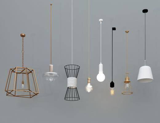 金属吊灯, 灯泡吊灯, 工业吊灯, 玻璃吊灯, 铁艺吊灯, 现代