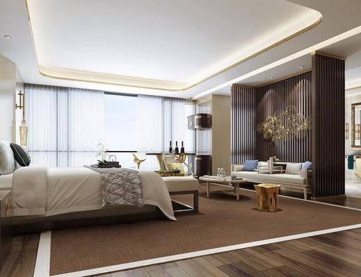 酒店客房, 新中式酒店客房, 轻奢, 床具组合, 双人床, 床头柜, 隔断, 电视柜, 摆件, 床尾踏, 壁灯, 洗手台, 毛巾, 新中式