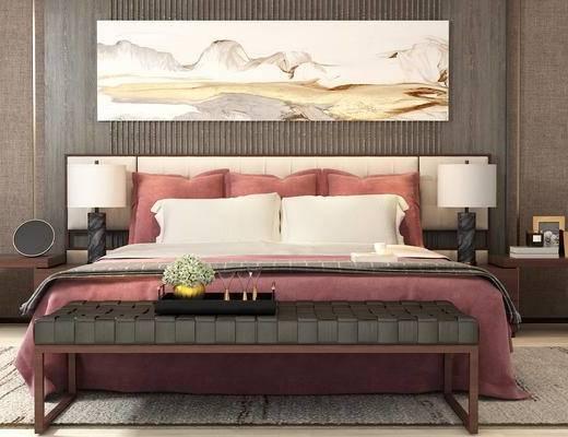 双人床, 台灯, 床, 脚踏, 中式挂画, 床头柜