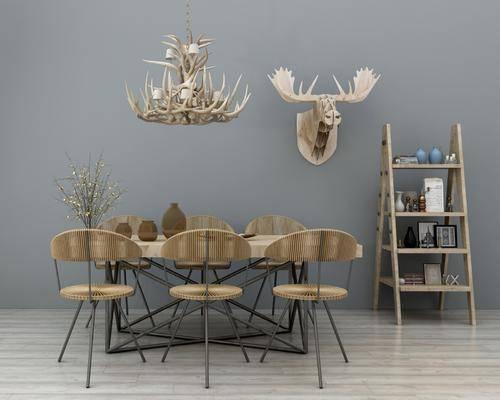 餐桌椅, 餐桌, 餐椅, 单人椅, 装饰架, 墙饰, 吊灯, 摆件, 装饰品, 陈设品, 美式