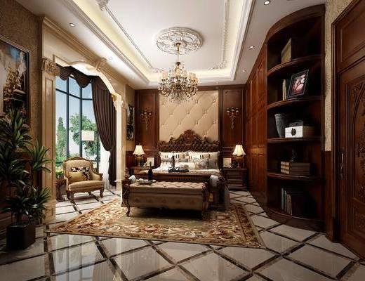 欧式卧室, 欧式, 欧式角线, 欧式吊灯, 欧式床, 欧式壁灯