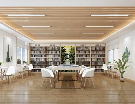 图书馆, 阅览室, 吊灯, 书柜, 植物