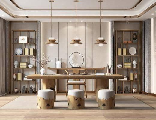书桌, 桌椅组合, 吊灯, 茶具组合