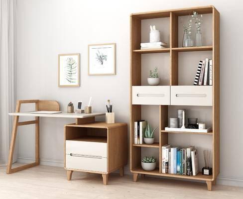 实木书桌, 书柜, 装饰柜, 植物画, 书籍, 盆栽, 花瓶花卉, 摆件, 装饰品, 陈设品, 北欧