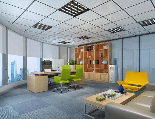 总经理办公室, 办公室, 现代办公室, 书桌椅, 椅子, 书柜, 沙发组合