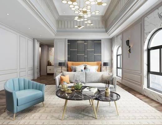 卧室, 床具组合, 双人床, 沙发组合, 茶几, 单椅, 吊灯, 壁灯, 台灯, 简欧卧室, 简欧轻奢, 简欧