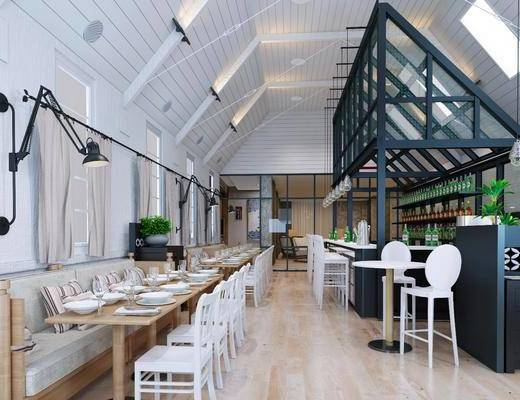 咖啡厅, 桌椅组合, 吧台, 单椅, 吊灯