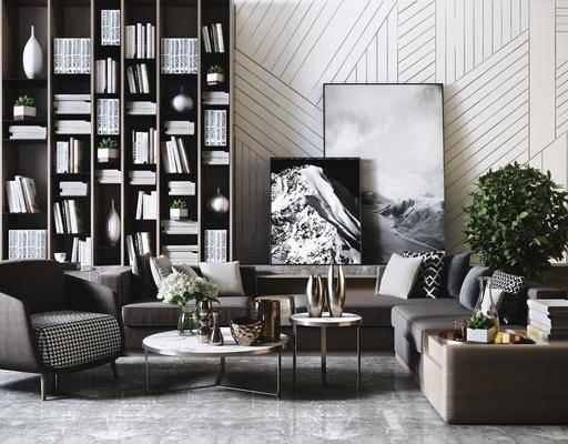 沙發組合, 現代轉角沙發茶幾組合3d模型, 轉角沙發, 茶幾, 擺件組合