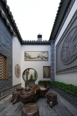 庭院, 根雕, 植物, 露臺