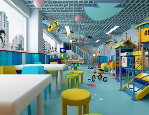 幼儿园, 游乐场, 气球, 娱乐室, 玩具, 滑梯