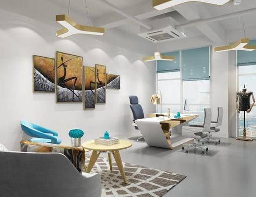 办公室, 办公桌, 办公椅, 单人椅, 组合画, 单人沙发, 落地灯, 衣架, 服饰, 现代