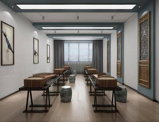 中式古琴房, 中式, 古琴, 中式装饰画, 屏风, 凳子