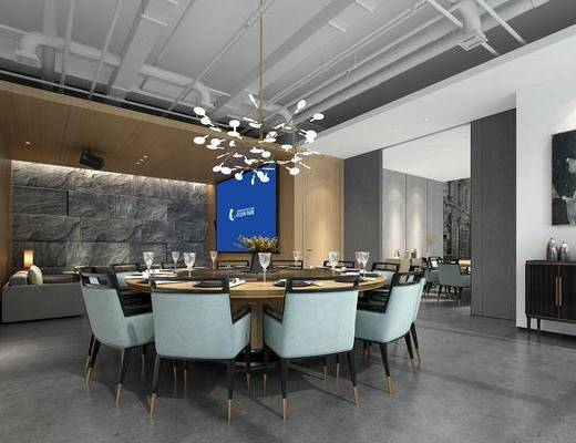 餐厅包厢, 餐桌, 餐椅, 单人椅, 餐具, 吊灯, 边柜, 装饰画, 挂画, 工业风